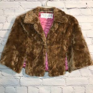 Like New Small Trina Turk Tan Faux Fur Capelet